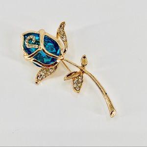 💝Gold Blue Rose Brooch OJ2